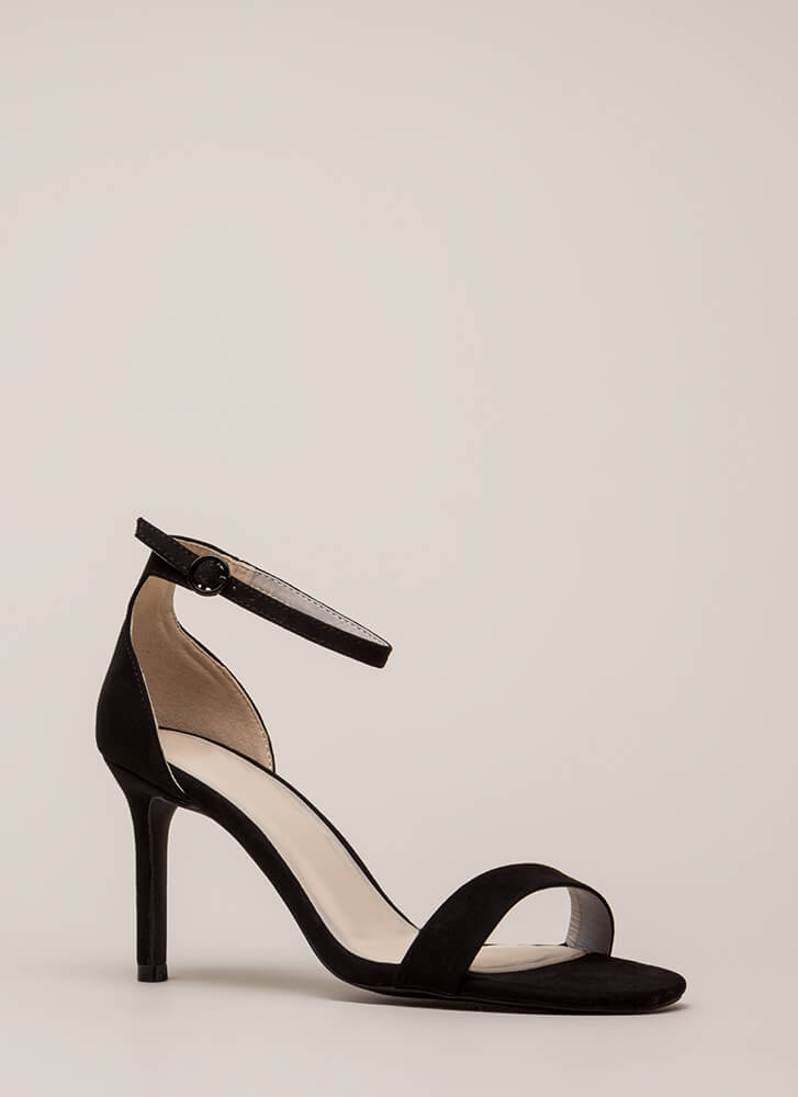 Fired Up Skinny Ankle Strap Heels BLACK