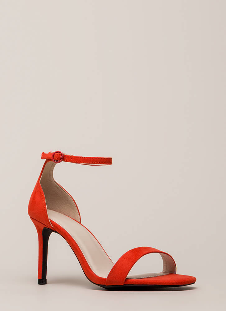 Fired Up Skinny Ankle Strap Heels BLOODORANGE