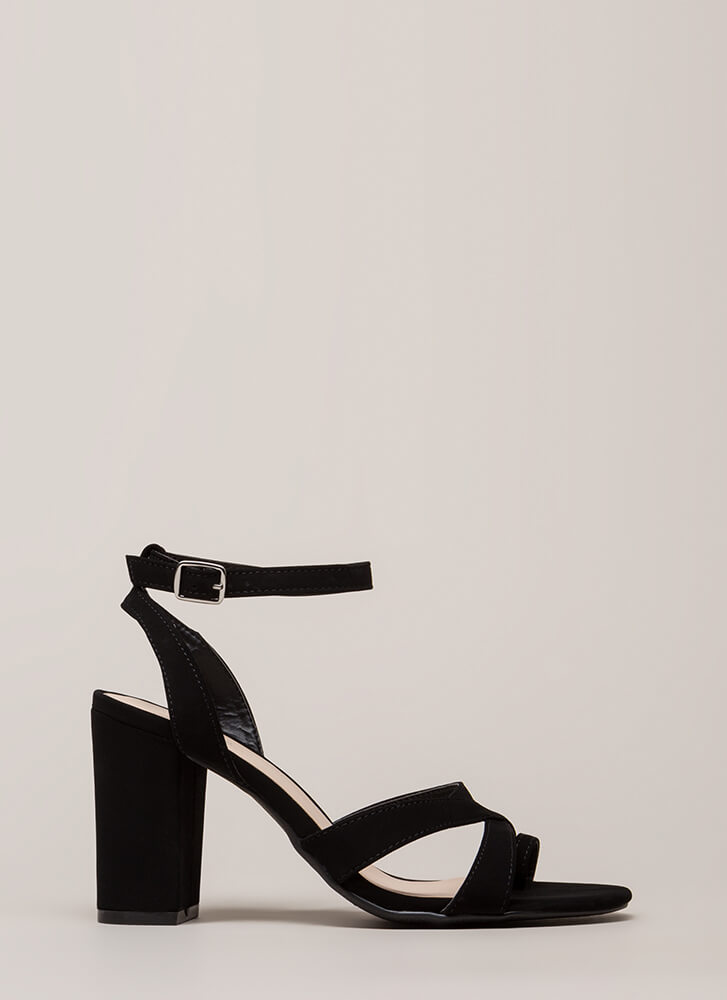 Toe The Line Chunky Strappy Heels BLACK (You Saved $18)