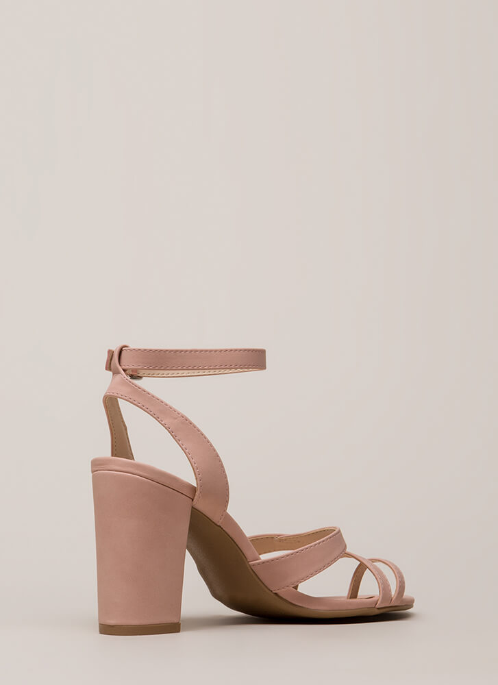 Toe The Line Chunky Strappy Heels BLUSH (You Saved $18)