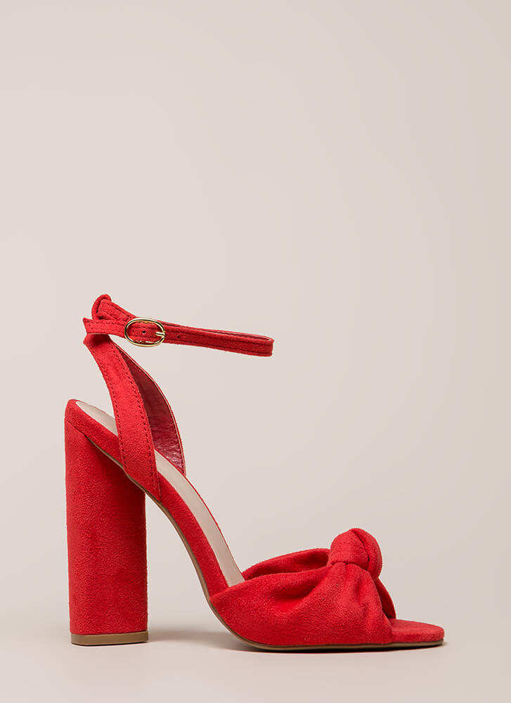 Knot And Say Yes Chunky Peep-Toe Heels RED