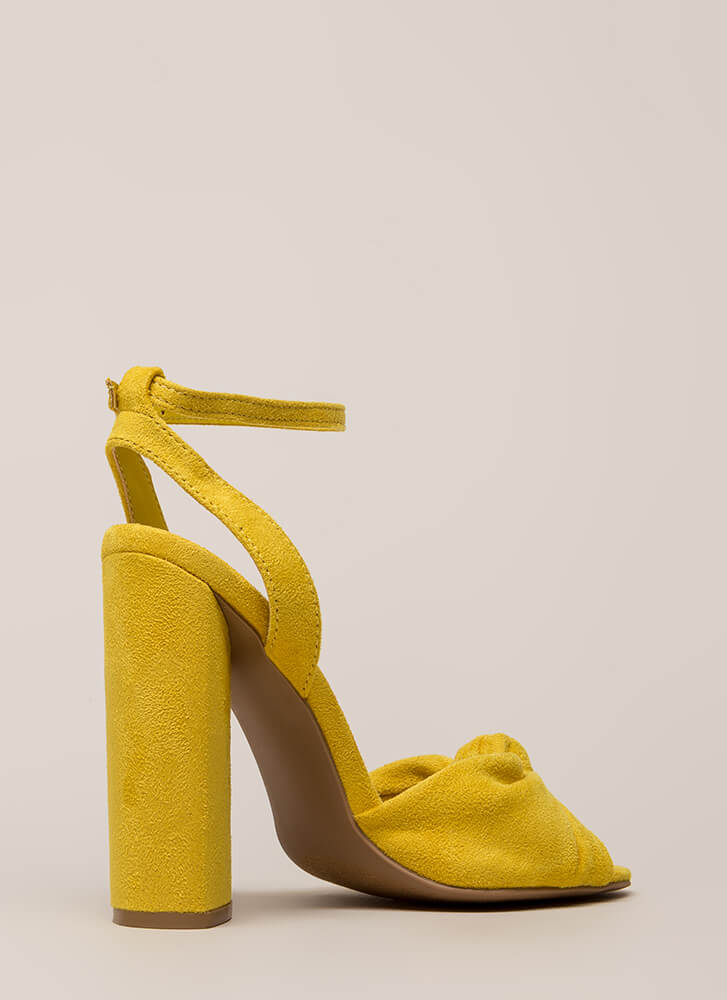 Knot And Say Yes Chunky Peep-Toe Heels YELLOW