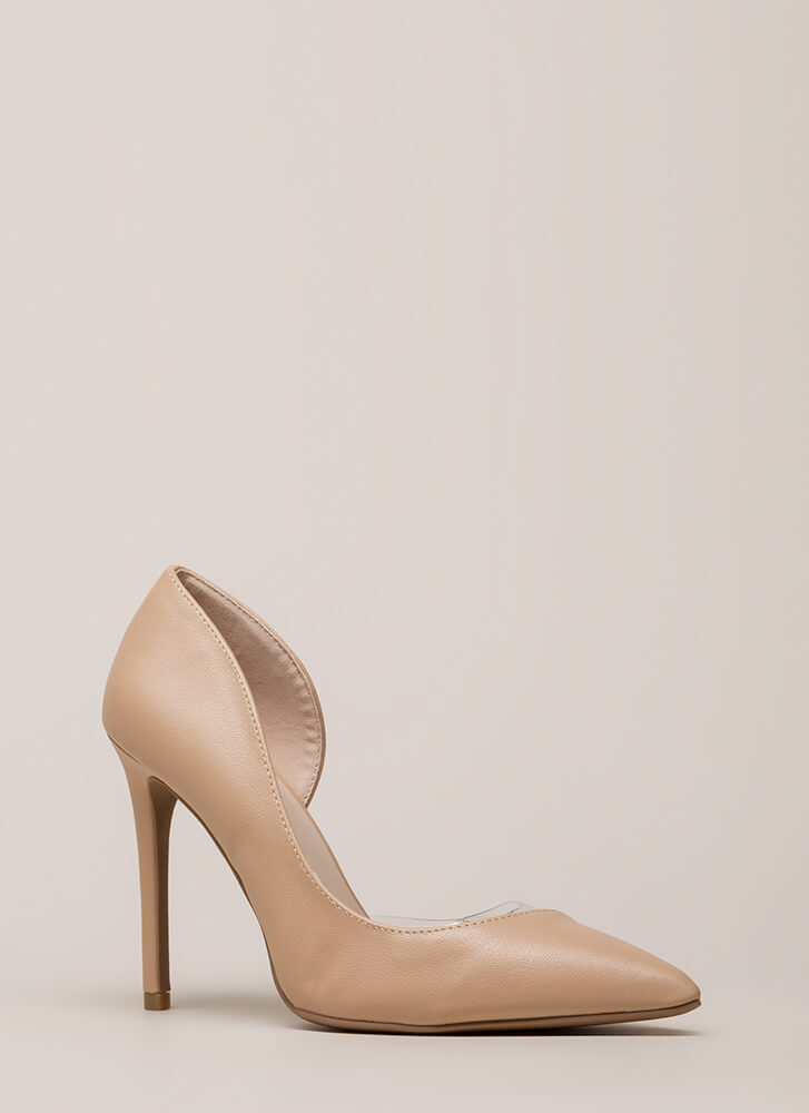 Clearly Asymmetrical Faux Leather Pumps BLUSH