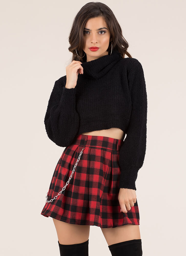 Knit Factor Cropped Turtleneck Sweater BLACK (Final Sale)