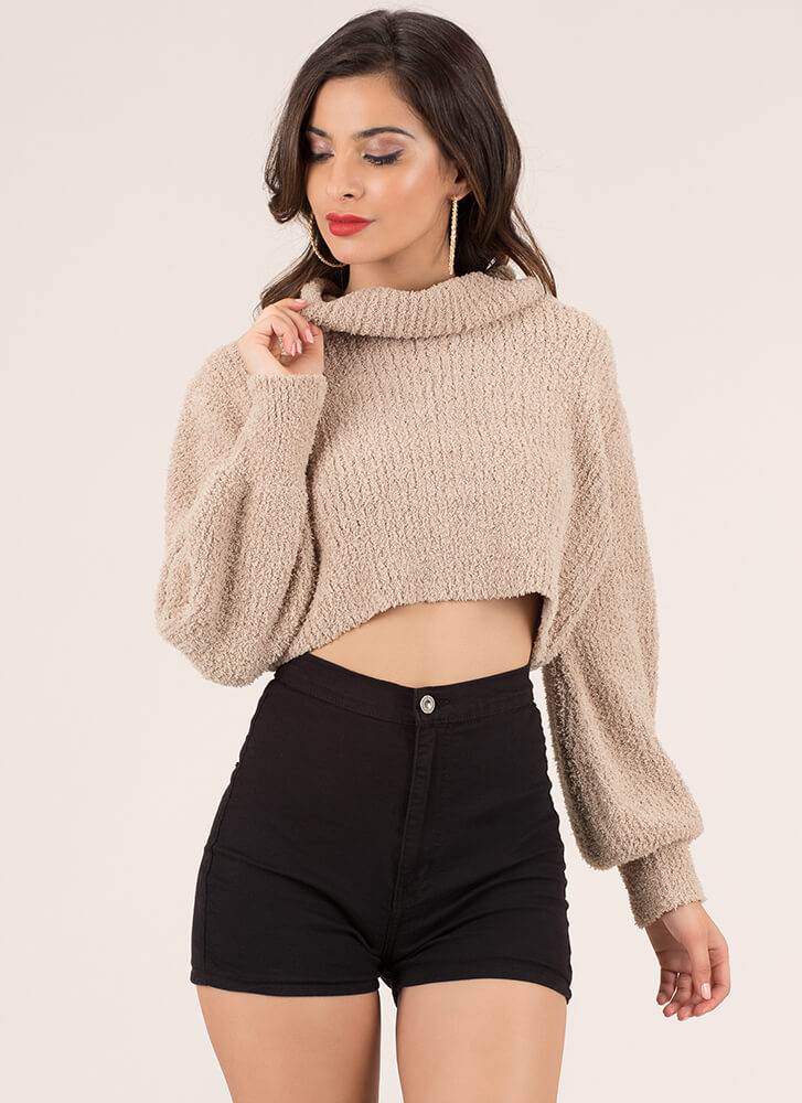 Knit Factor Cropped Turtleneck Sweater CAMEL