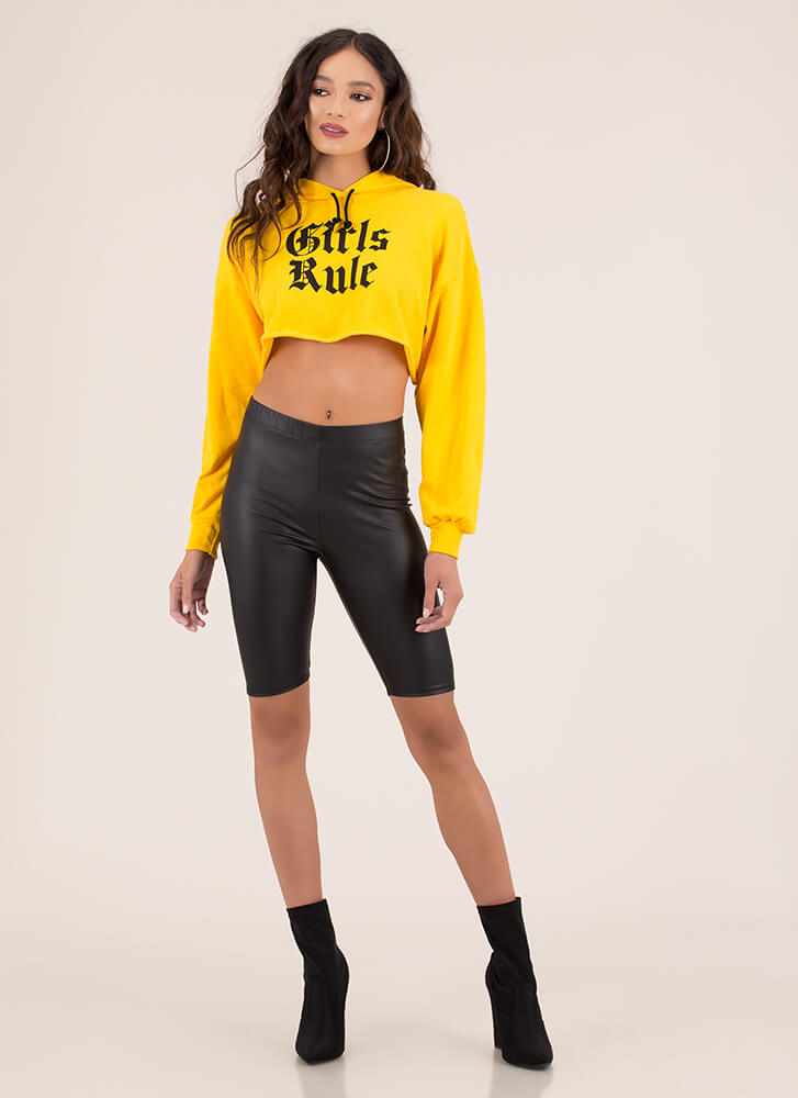 Girls Rule Cropped Graphic Hoodie YELLOW