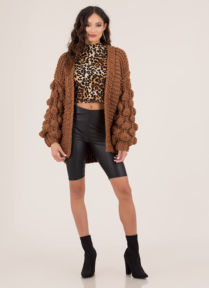 Blowing Bubbles Puffy Knit Cardigan BROWN