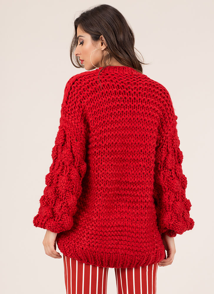 Blowing Bubbles Puffy Knit Cardigan RED