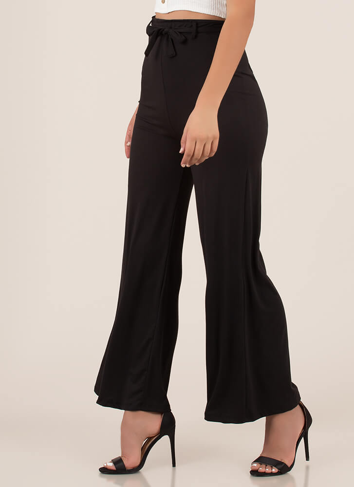 Oh Wide Not Tied Palazzo Pants BLACK (You Saved $10)