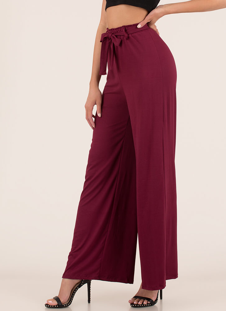 Oh Wide Not Tied Palazzo Pants BURGUNDY (You Saved $10)