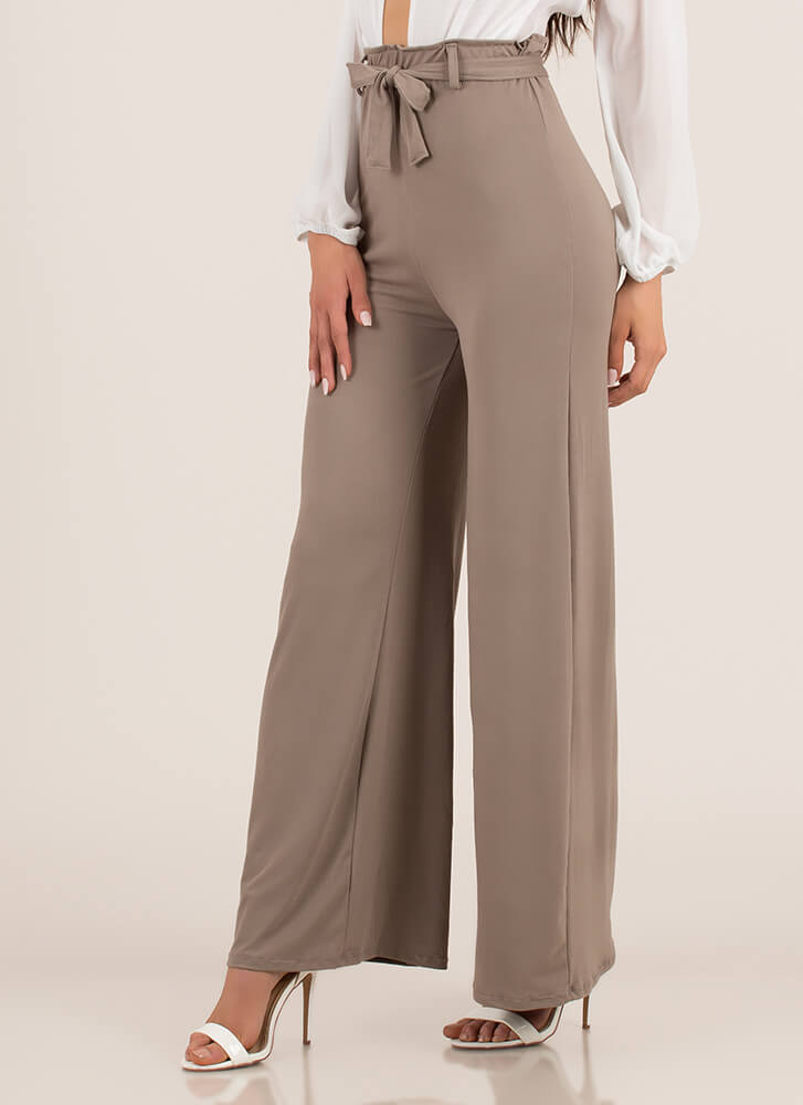 Oh Wide Not Tied Palazzo Pants TAUPE