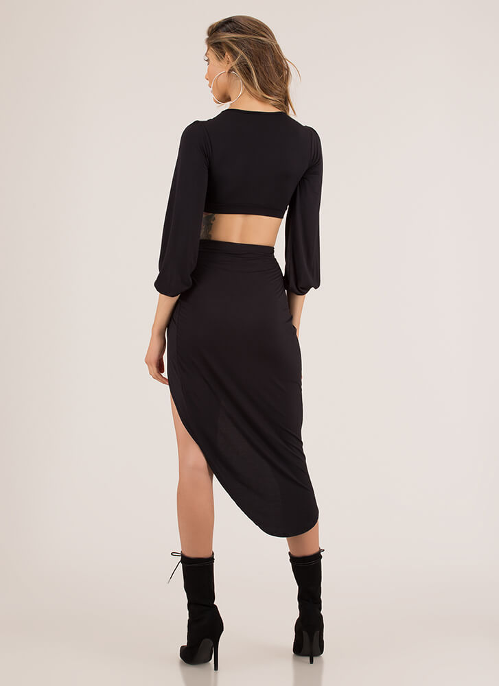 So Knotty High-Slit Top And Skirt Set BLACK