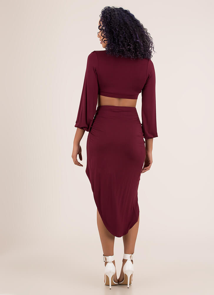 So Knotty High-Slit Top And Skirt Set BURGUNDY