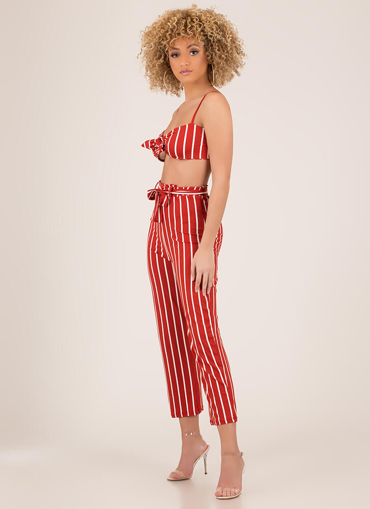 Beach Bunny Striped Top And Pant Set RUST