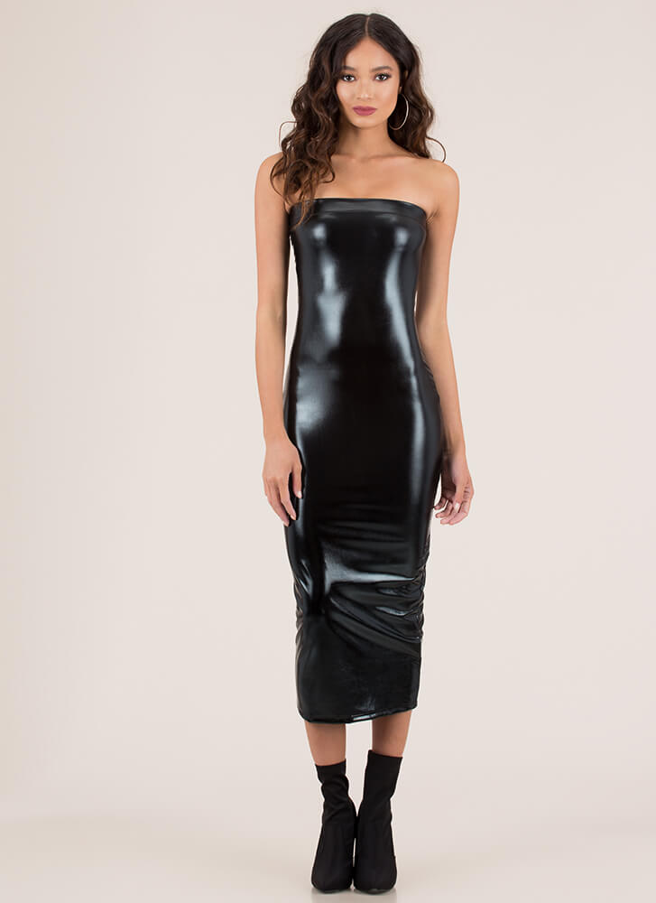 Pour You Strapless Faux Leather Maxi BLACK