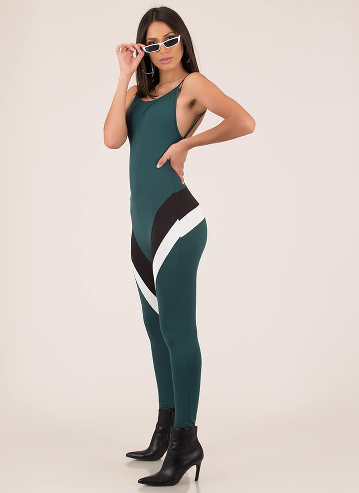 Two Stripes Sporty Open-Back Jumpsuit HGREEN (Final Sale)