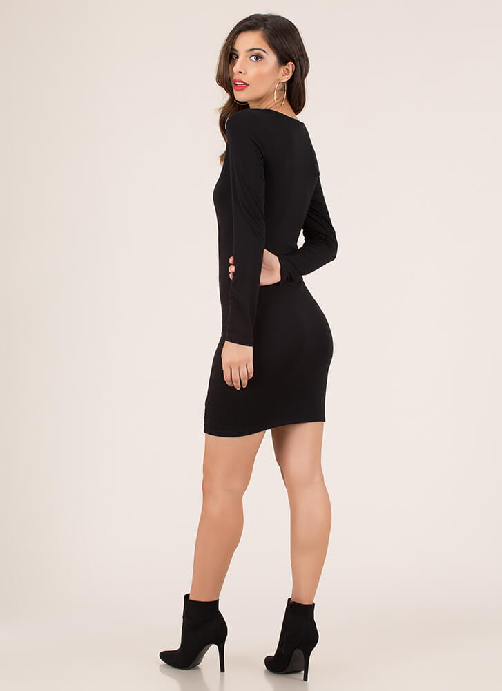 Square In The Eye Button-Up Dress BLACK