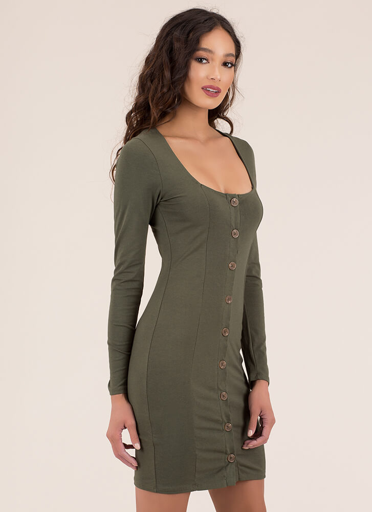 Square In The Eye Button-Up Dress OLIVE