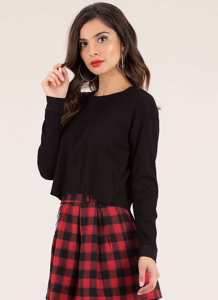 Fashion Is A Basic Need Crop Top BLACK (You Saved $6)