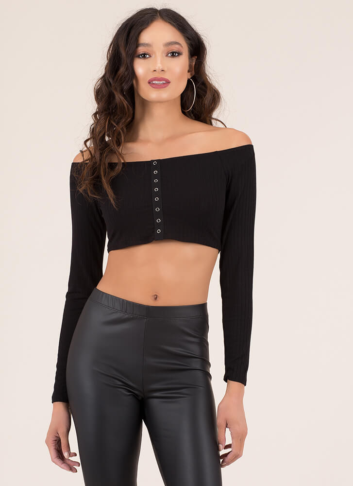 3f17e98d1c2 In A Snap Ribbed Off-Shoulder Crop Top BLACK TERRACOTTA - GoJane.com
