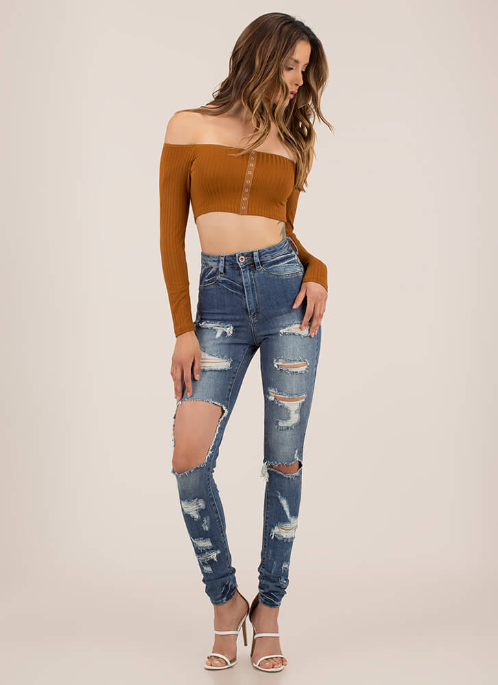 In A Snap Ribbed Off-Shoulder Crop Top TERRACOTTA