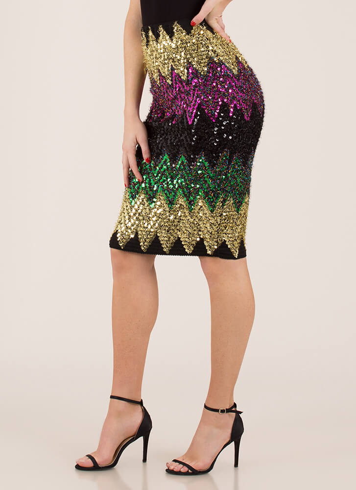 Sequined And Spangled Zigzag Skirt MULTI