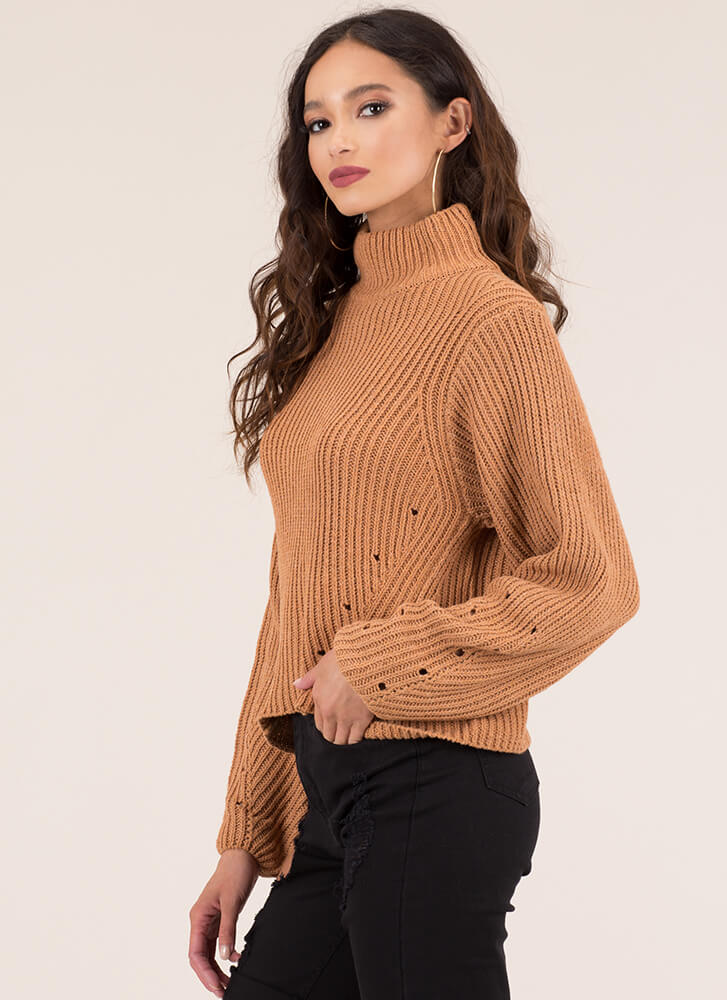 Hole New World Turtleneck Sweater APRICOT