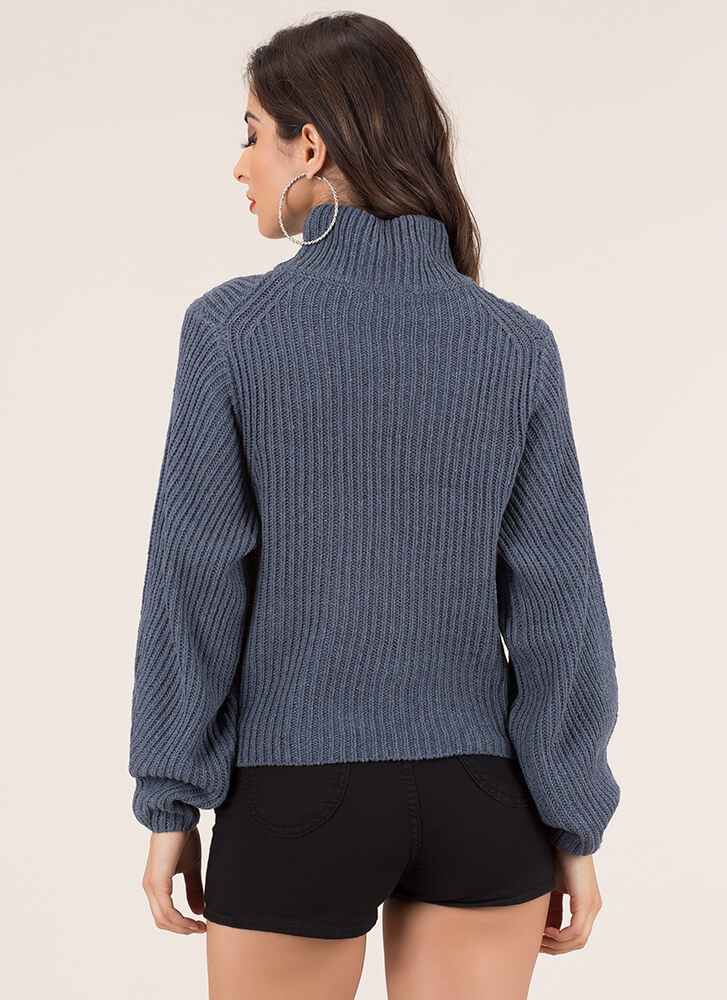 Hole New World Turtleneck Sweater BLUE