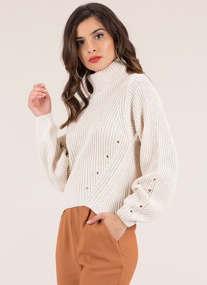 Hole New World Turtleneck Sweater OATMEAL