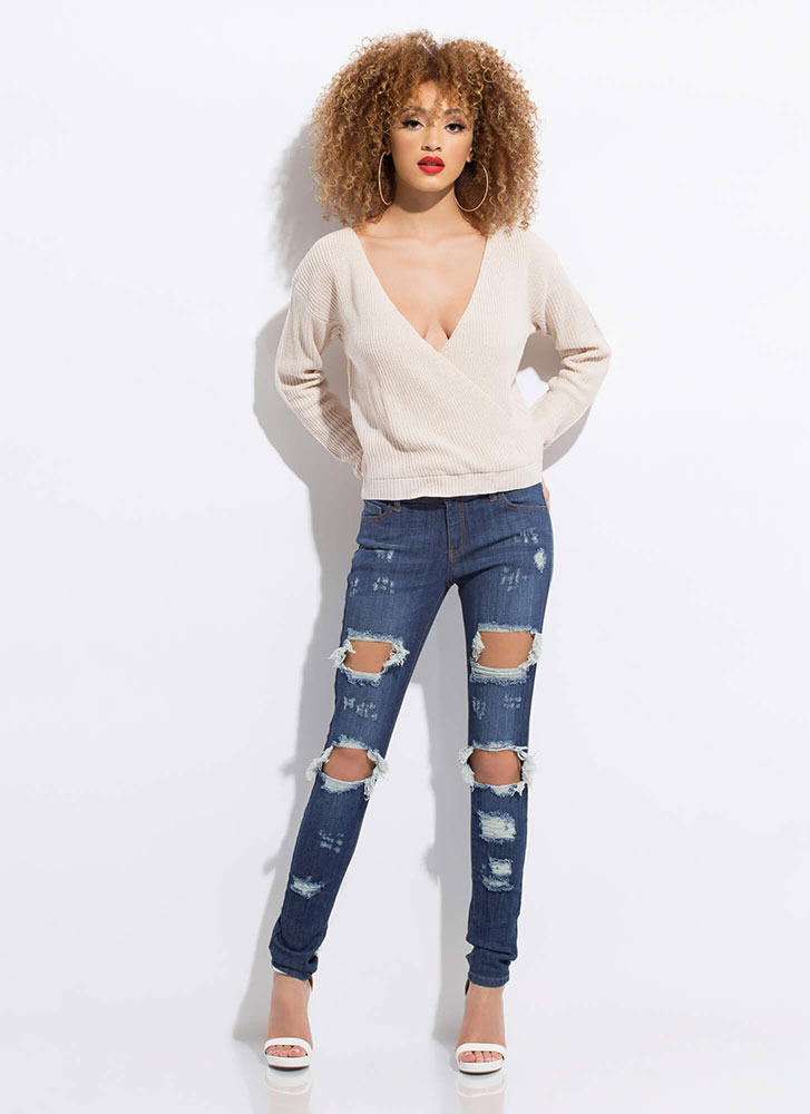 Who Knew Plunging Knit Sweater CREAM
