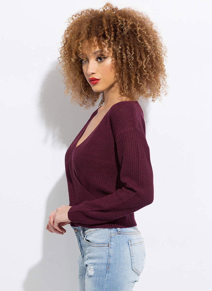 Who Knew Plunging Knit Sweater DKPURPLE