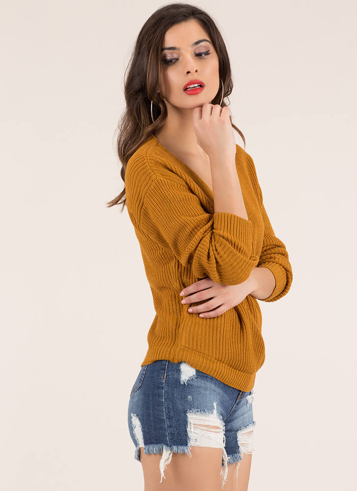 Who Knew Plunging Knit Sweater MUSTARD