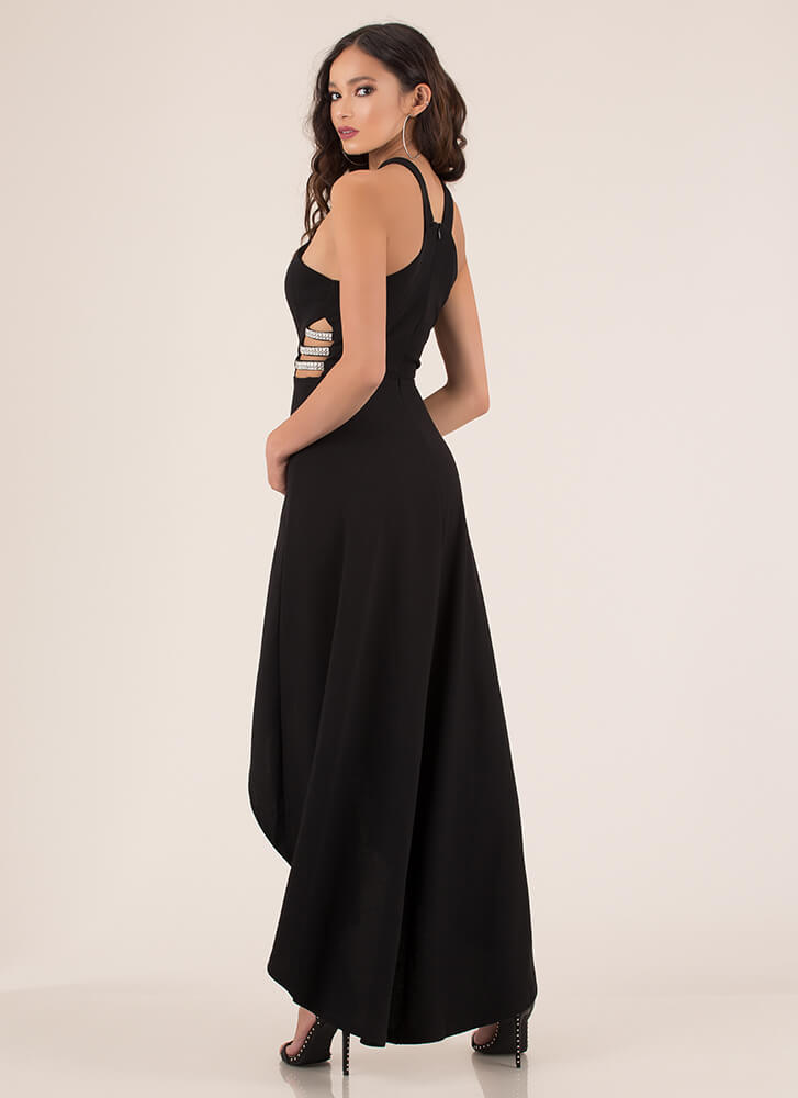 Best Side Story Jeweled Strap Gown BLACK