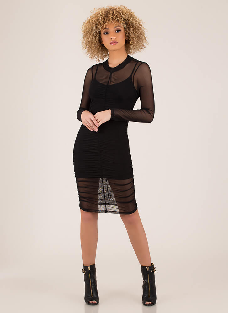 The Layers Club Ruched Mesh Dress by Go Jane