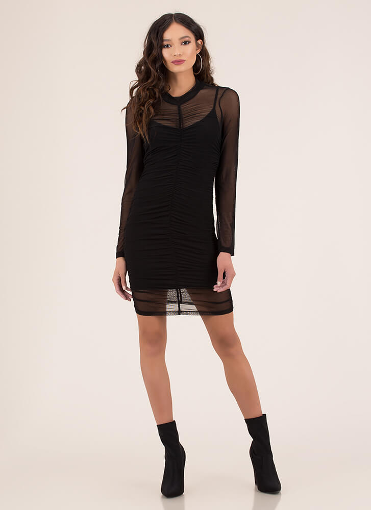 The Layers Club Ruched Mesh Dress BLACK