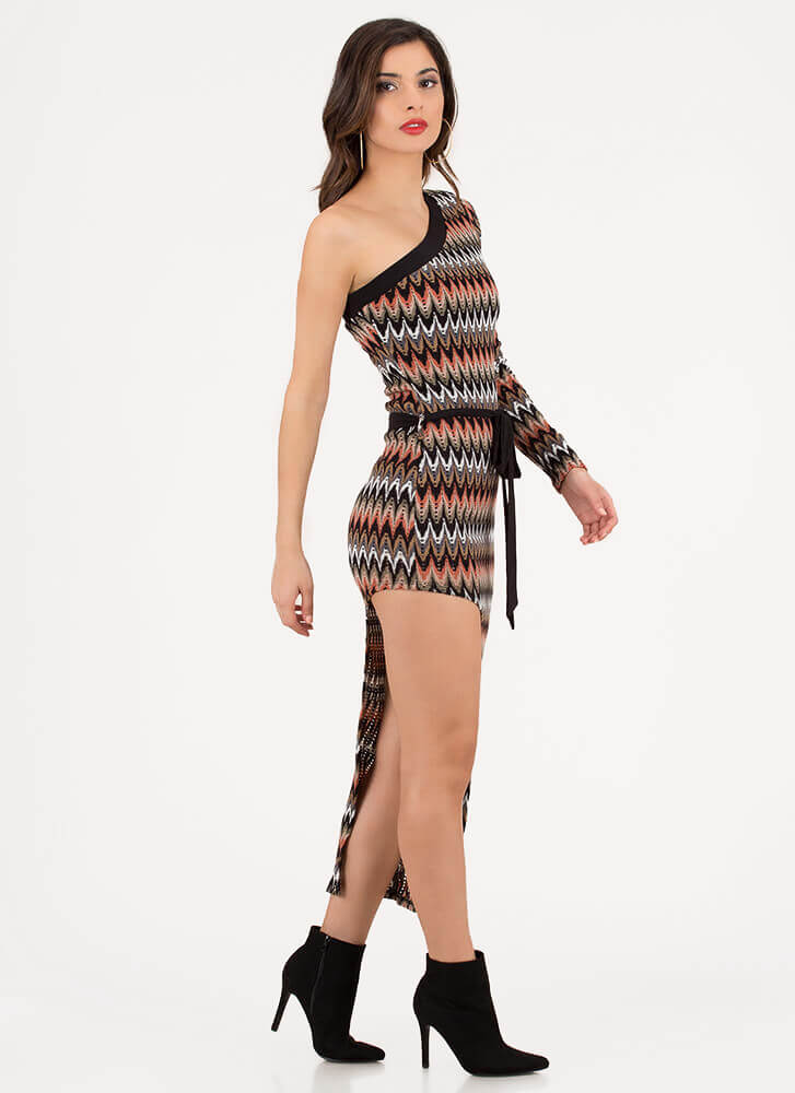 Long And Short Asymmetrical Knit Dress PINKMULTI