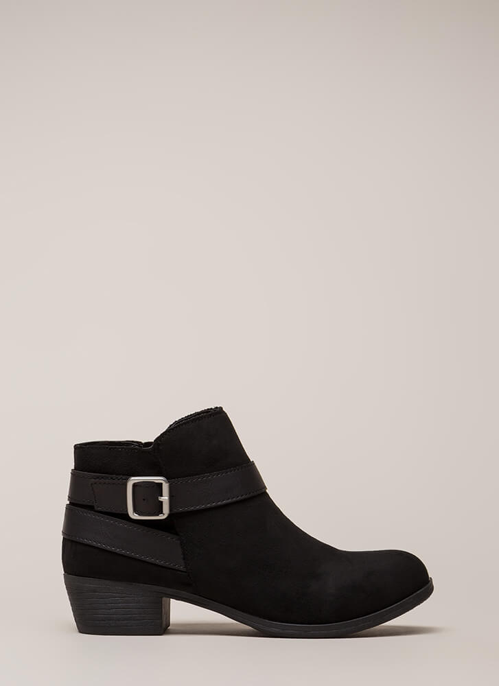 My Favorite Strappy Faux Suede Booties BLACK