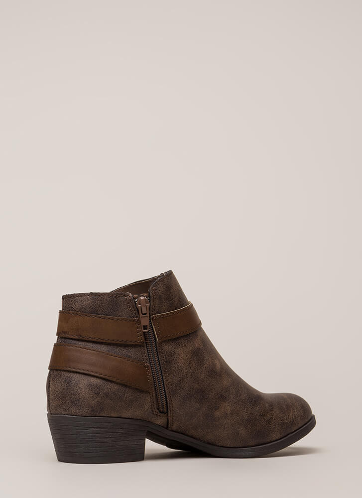 My Favorite Strappy Faux Leather Booties BROWN