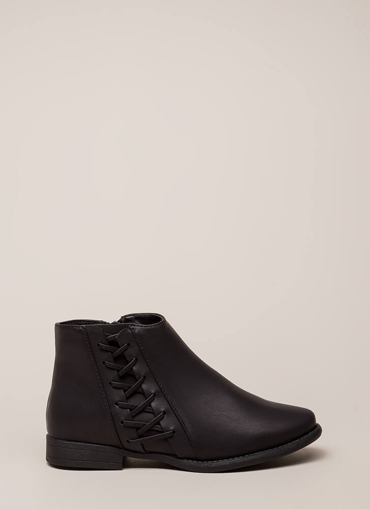 Walks Of Life Flat Laced Booties BLACK (You Saved $20)