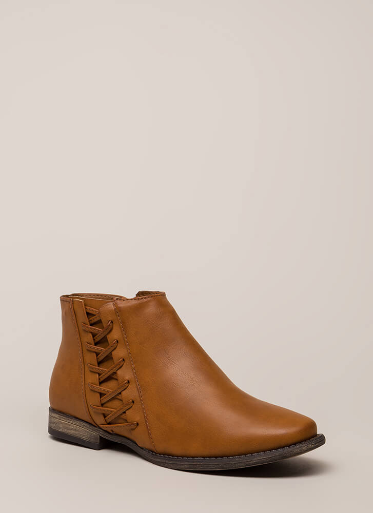 Walks Of Life Flat Laced Booties CHESTNUT (You Saved $20)