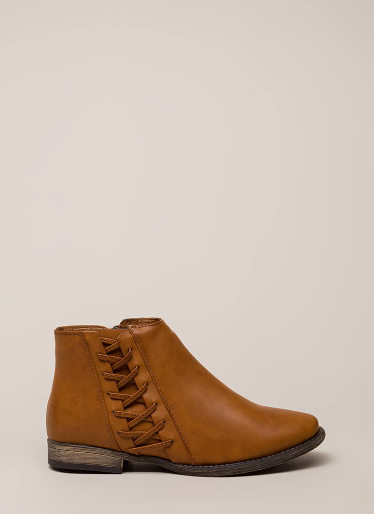 Walks Of Life Flat Laced Booties CHESTNUT