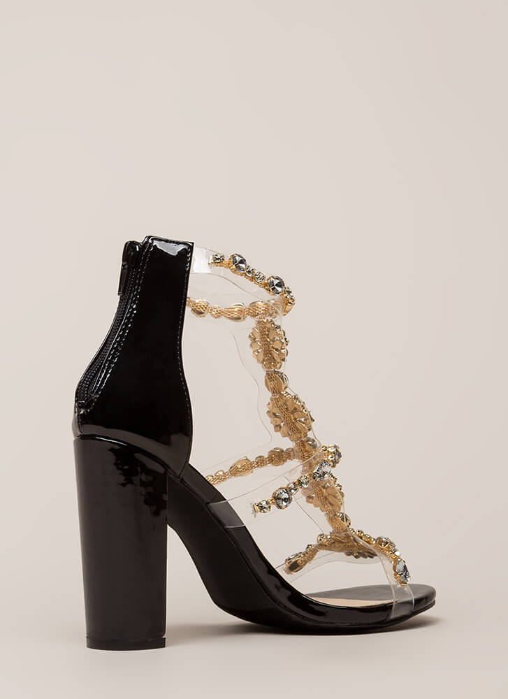 Flower Power Jeweled Faux Patent Heels BLACK
