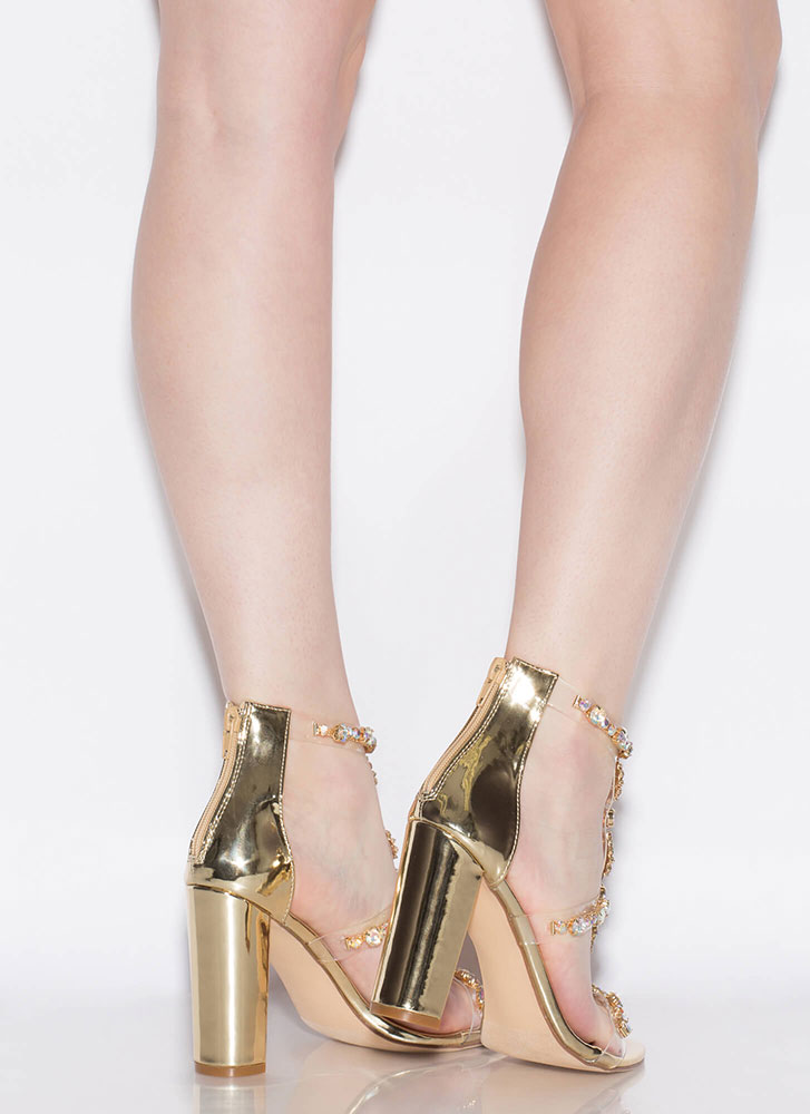 Flower Power Jeweled Metallic Heels GOLD