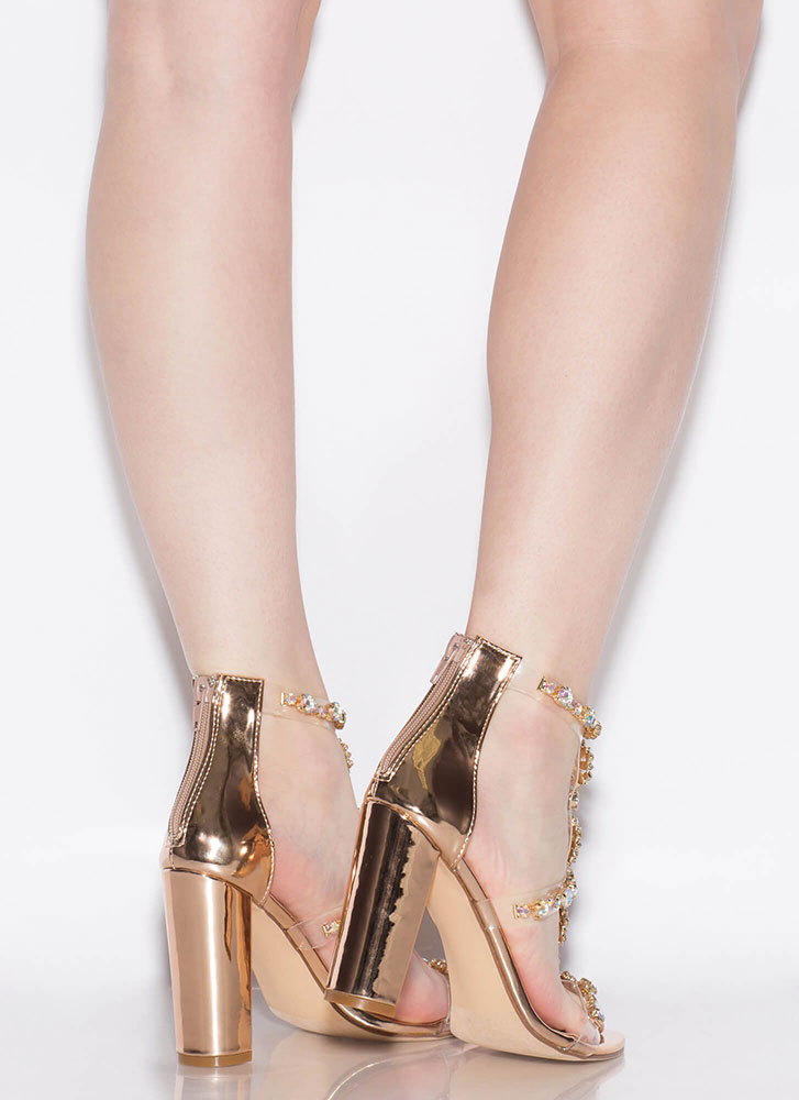 Flower Power Jeweled Metallic Heels ROSEGOLD