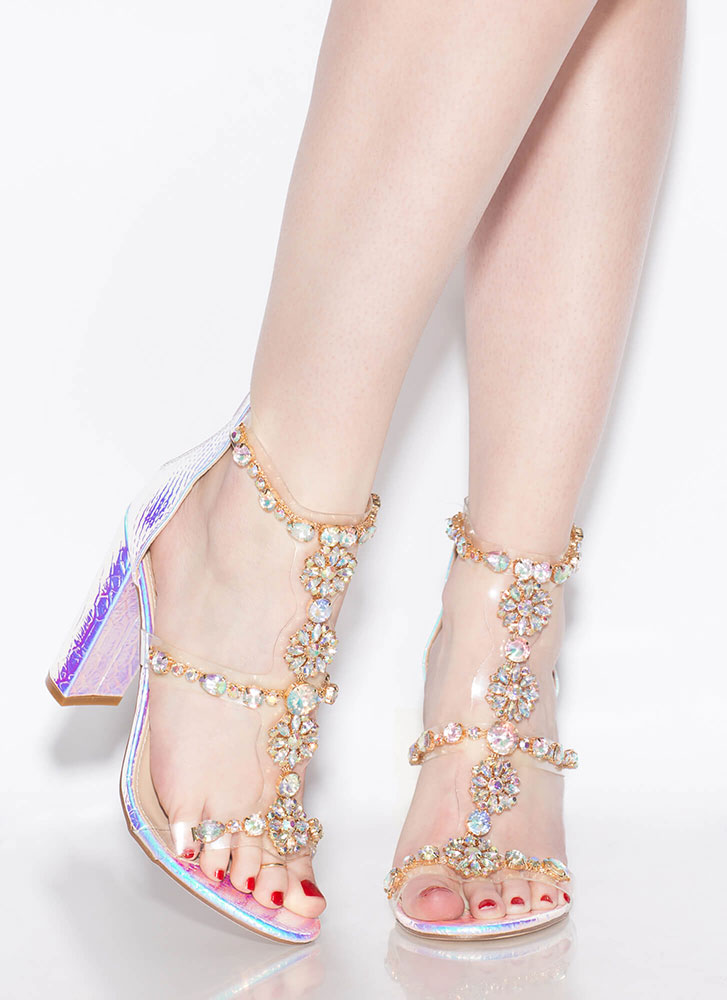 Flower Power Jeweled Holographic Heels PINK