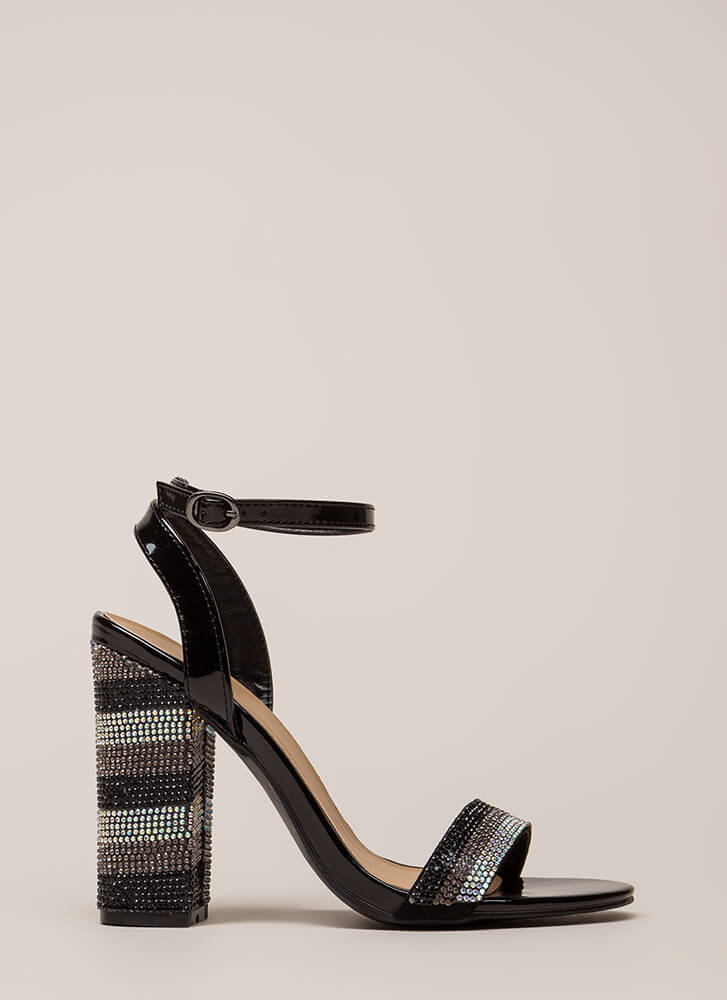 Stripe It Rich Rhinestone Chunky Heels BLACK