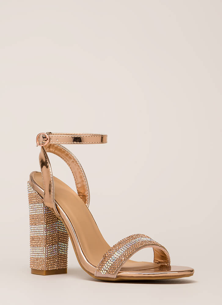 Stripe It Rich Rhinestone Chunky Heels ROSEGOLD