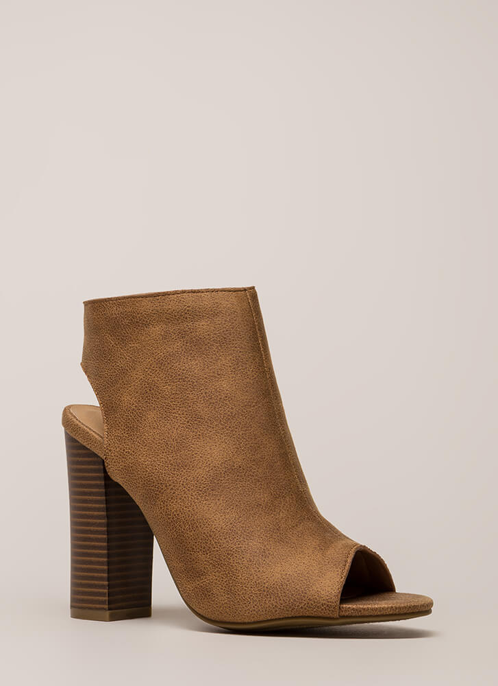 Make A Peep Faux Leather Chunky Heels TAN