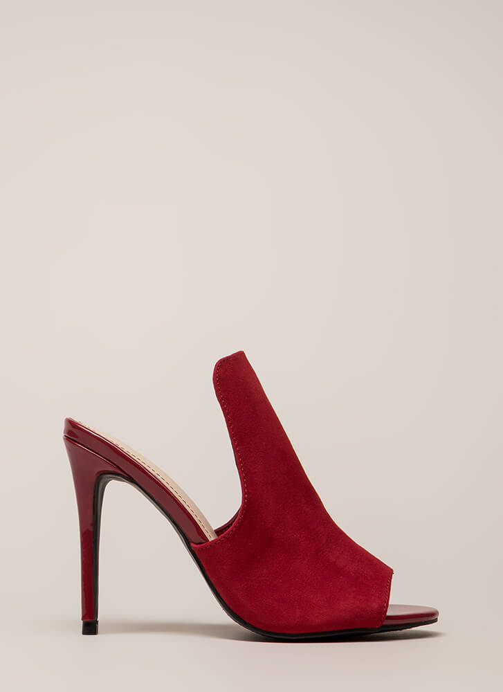 Bite Your Tongue Paneled Peep-Toe Heels RED