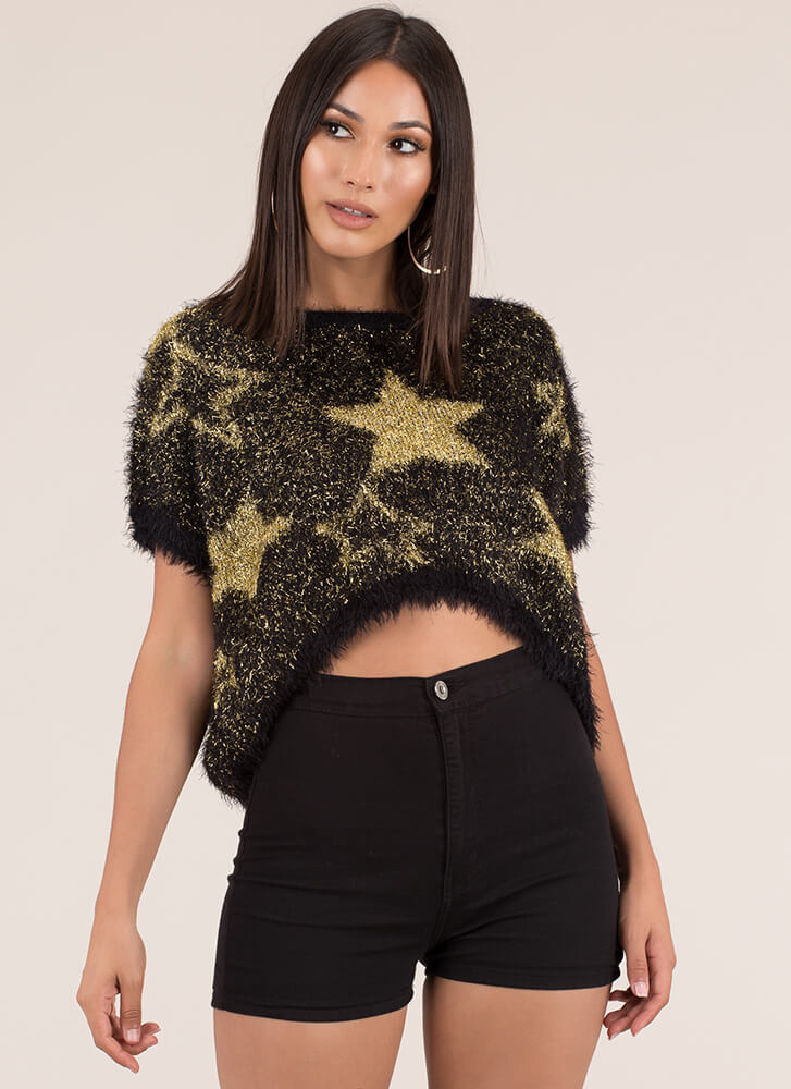 Star-Spangled Sweater Fuzzy Knit Top BLACK